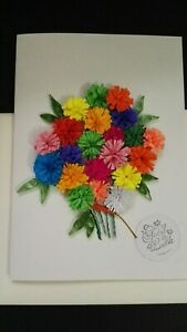 Handmade Paper Quilling Greeting Card Flowers for the Good Luck, Best Wishers