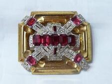 McClelland Barclay Vintage Art Deco Brooch Gold Tone Rhinestones and Ruby Red