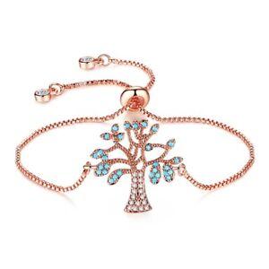 Exquisite Tree Aquamarine Crystal 18K Rose Gold Filled Adjustable Chain Bracelet