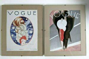 2 x Vogue Magazine Cover reprint in clip frame Art Deco Vintage Fashion Prints