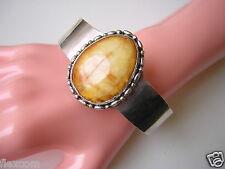 Massiver Silber Armreif mit Butterscotch Natur Bernstein 68,89 g Genuine Amber