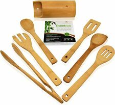Wooden Kitchen Utensils Set - 7 Piece Bamboo Cooking Tools and Holder - Cooking