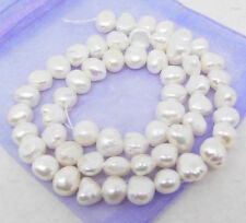 Natural 7-8mm White Freshwater Cultured Baroque Pearl Loose Beads 15''