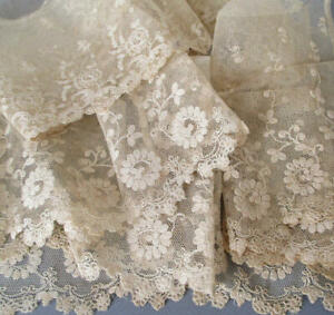 "3 Vintage Creamy Ecru French LACE Trims TAMBOUR Embroidered 4"" - 7"" Wide * DOLLS"