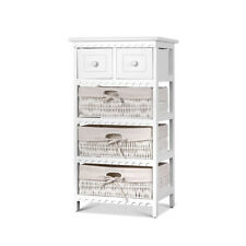 Chest 2 Drawers 3 Wicker Baskets Storage Dresser Bedside Table Cabinet Tallboy