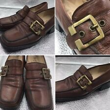 Russell & Bromley Size 4.5 37.5 Brown Leather Chunky Buckle Loafers Shoes Womens