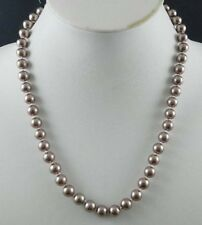 Long 24 inches 8mm Silver Champagne South Sea Shell Pearl Necklace JN44