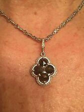 LOREE RODKIN Clover Black Sapphire & 18K white gold Diamond Necklace!
