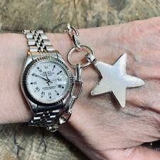 SOLID STERLING SILVER HAND MADE LONDON DESIGNER STAR BRACELET PERSONALISED FREE