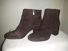 LORD & TAYLOR 424 FIFTH ANKLE BOOTS dark brown Leather suede sz 7