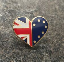 UK & EUROPE LOVE HEART ENAMEL PIN BADGE | BREXIT PRO-EU REMAIN | UK POLITICS EU