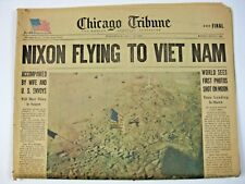 Chicago Tribune 1969 Nixon Flying To Viet Nam & World Sees First Photos of Moon