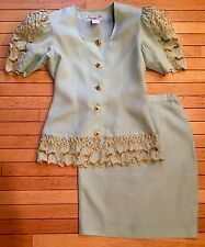 JB Collection Women's Size 10 Blue Green 2 Piece Skirt Suit