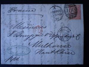 1865-67 4d Vermilion SG95 Pl 7 Cover to France VF Multiple Cancels