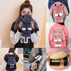 Womens Rabbit Chain Bag Soft Fur Handbag Bunny Fluffy Charm Backpack Bags UK