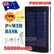 Black 50000mAh Dual USB Portable Solar Battery Charger Power Bank For Cell Phone