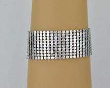 "Silver metal mesh bracelet lightweight liquid mesh 1"" wide bracelet 7-9.5"" long"