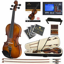 Cecilio CVN-300 Ebony Fitted Solid Wood Violin + Tuner and Lesson Book, Size 1/4