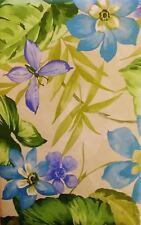 Butterflies Tropical Blue Violet Flowers Vinyl Flannel Back Tablecloth 52 x 70