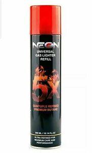 Neon 5X Refill Butane Gas Universal Fluid Fuel Ultra Refined 300ml /10.14oz