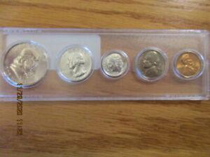 1961 US MINT SILVER MINT SET P Mint 5 BU Coins Plastic Whitman Coin Holder