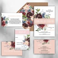 Personalised Luxury Rustic Wedding Invitations MULBERRY/WHITE/BLUSH packs of 10