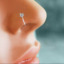 Women Flower Clip-on Crystal Nose Ring Thin Hoop-Sparkly Stud Fake Nose Ring
