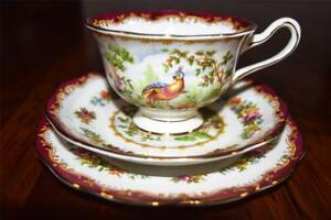 Vintage Royal Albert Chelsea Bird Trio - Pretty Display - faint hairline crack