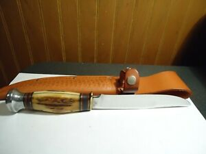 Vintage Marbles Gladstone Stag Handle Fixed Blade Knife USA Made