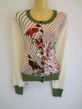 Gorgeous bird-print stretchy fitted fine wool designer cardi sz14 NEW!