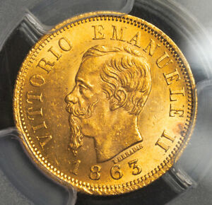 1863-T, Kingdom of Italy, Victor Emmanuel II. Nice Gold 10 Lire Coin. PCGS MS63!