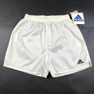 Vintage Adidas Boys Youth XL Nylon Shiny White Yellow Shorts Running Genoa 2 NWT