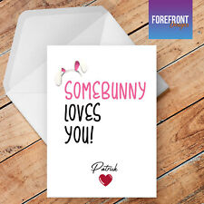 Personalised 'Somebunny loves you' greeting card, Valentines day love card, gift