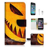 ( For iPhone 7 ) Wallet Case Cover P1382 Halloween Pumpkin