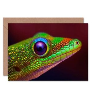 Birthday Animal Photo Gold Dust Day Gecko Head Blank Greeting Card With Envelope