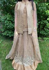 Zoya Luxurious Asian Pakistani gold wedding Party dress skirt suit