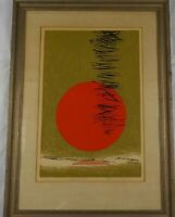 Vintage Mid Century Modern Serigraph Bamboo Sun by Dom Mangicaro Listed