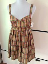 NWT Ali Ro Plaid Dress Orange Green Full Skirt Halter top Sz 8 MSRP Neimans $287