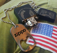 ZIPPO 1941 Black CRACKLE Prisoners of War POW MIA And Dog Tags Bottle Opener.