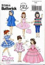 "BUTTERICK SEWING PATTERN 5864 18"" RETRO/VINTAGE DOLL CLOTHES - COAT, DRESS PANTS"