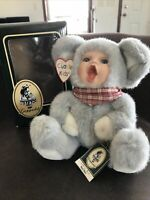 Geppeddo Cuddle Kids Marty Mouse Plush Animal Doll Porcelain Face