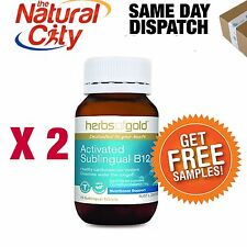 Activated Sublingual B12 75tabs x 2 by Herbs of Gold - Methylcobalamin