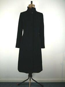 John Lewis Black Funnel Neck Cashmere Coat UK 10 P to P:49cms L:105cms RRP189