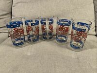 Vintage Pepsi Cola Tiffany Style Stained Glass 12oz Drinking Glasses Set of 5