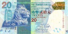 HONG KONG 2010 20 DOLLAR BANK NOTE in a Protective Sleeve
