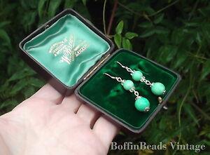 Czech Peking glass bead EARRINGS mint green to match vintage outfits .925 silver