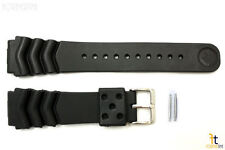 22mm for SEIKO Z-22 Wave Divers Heavy Black Rubber Watch Band Strap w/ 2 Pins