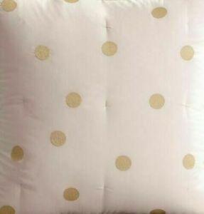 Pottery Barn Teen Emily & Meritt Gold Dot FULL QUEEN Quilt Dusty Pink + 2 Shams