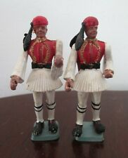 2 Incomplete Aohna Greek Soldiers Made In Greece Plastic Vintage Figures