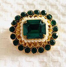 Vintage Gold Tone Green Rhinestone Seed Pearl Brooch